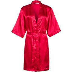 CALANDO Dressing gown ($13) ❤ liked on Polyvore featuring intimates, robes, lingerie, robe, red, kimono dressing gown, short bath robe, bath robes, robe kimono and red bathrobe