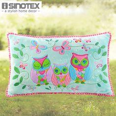 Owl Song Cushion 30X50cm Cartoon Embroidered Applique Capa de Almofada Home Safa Car Bed Seat #Affiliate