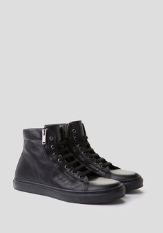 High-top trainers with side zip