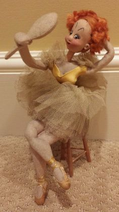 Vintage Klumpe Made in Spain Sitting Ballerina with Mirror Doll #Klumpe