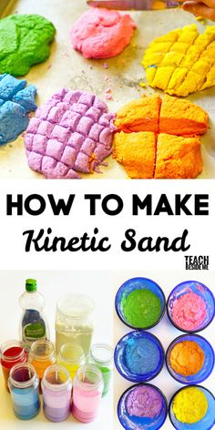 How to make kinetic sand with kids  #science #kidsactivities #sensoryplay Science Activities For Kids, Sensory Activities, Sensory Play, Toddler Activities, Steam Activities, Science Experiments, Homemade Kinetic Sand, Make Kinetic Sand, Sands Recipe