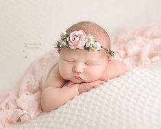 Newborn Floral Crown, Baby Girl Head Wreath, Halo Crown Newborn Photo Prop, Flower Headpiece, Newborn Photography Prop, Headband Flower Girl