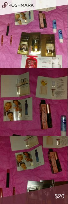 13 piece samples. Bundle All new all untouched u one roller lash benefit mascara one L'Oreal bright reveal moisturizer one L'Oreal age perfect Hydra nutrition day  cream L'Oreal age perfect facial oil treat face one L'Oreal age perfect golden balm Hydra nutrition night moisturizer two Nivea lip care one Avon ultra glazewear lip gloss pink two Mary Kay lip pencil  one Daisy Marc Jacobs pufum one belara pufum by Mary Kay one chole pufum Daisy Fuentes Makeup Eyeliner