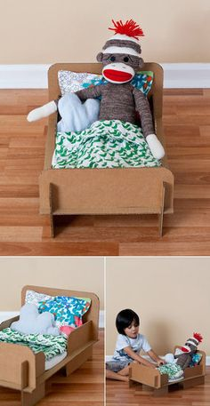 Cardboard Doll Bed: Ambrosia Creative's cardboard doll bed is a DIY project that any little girl would love! The coolest part: all the pieces interlock without tape or glue. Source: Ambrosia Creative