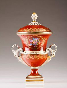 Urn Dresden porcelain Polychrome and gilt decoration with bouquets Marked at the base Height