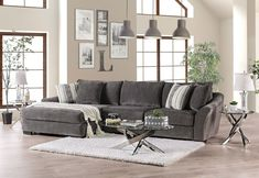 Furniture Of America Sigge Charcoal Usmade Contemporary Sectional Furniture Of America Sigge Charcoal Usmade Contemporary Sectional Sectional, Sectional Furniture, Spacious Sofa, Types Of Sofas, Furniture Of America, Furniture, Cool Couches, Contemporary Sectional, Charcoal Sectional