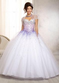 88086 Ombre Beaded Bodice on a Tulle Ball Gown Skirt Corset Back Bolero Jacket