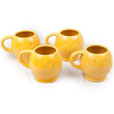 Vtg Lot McCoy Pottery USA 70s Smiley Happy Face Mugs Cups 4 Piece Yellow Coffee