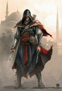 Ezio Auditore - Assassin's Creed: Revelations by Martin Deschambault Ninja Assassin, Rogue Assassin, Arte Assassins Creed, Assasins Cred, Assassin's Creed Wallpaper, Geeks, Armadura Cosplay, All Assassin's Creed, Assassin's Creed Brotherhood