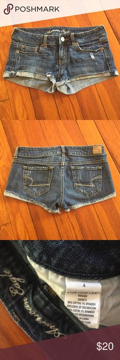 American Eagle Denim Short Shorts Very good condition. These are just too small on me and there are no flaws. American Eagle size 4! American Eagle Outfitters Shorts Jean Shorts