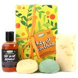 Ray of Sunshine  If grey clouds are looming in someone's life, give them a ray of sunshine. Our shower box of warmth, comfort and Mediterranean citrus jubilation has four products that will help them to turn things around again. You can dispel the darkness with a miniature Sugar Scrub, Each Peach (And Two's a Pair) massage bar, The Olive Branch shower gel, and a wedge of Sexy Peel soap. Ahhh, that's better.