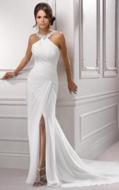 Sheath Halter Court Train Chiffon Wedding Dress Be the hottest girl of the day wearing this sexy Sheath Column Halter Court Train Chiffon Wedding Dress! Dresses Short, Cute Dresses, Prom Dresses, Formal Dresses, Bridesmaid Gowns, Wedding Dress Chiffon, Wedding Gowns, Fashion Vestidos, Gowns Of Elegance