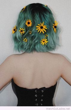 Short blue hair color with flowers