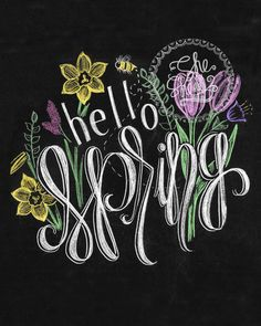 Hello Spring Hand drawn Chalkboard Print by SheSheDesign on Etsy https://www.etsy.com/listing/226730086/hello-spring-hand-drawn-chalkboard-print