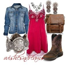 A fashion look from March 2012 featuring PINK MEMORIES dresses, Mango jackets and Roots handbags. Browse and shop related looks. Country Girl Outfits, Country Girl Style, Country Fashion, Cowgirl Outfits, Cowgirl Style, Western Outfits, Western Wear, My Style, Cowgirl Clothing