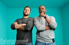 Actors James Roday and Dule Hill from Psych! The Movie are photographed for Entertainment Weekly Magazine on July 2017 at Comic Con in San Diego, California. Sarah Ramos, Dylan Bruce, Jason Lewis, James Roday, Arielle Kebbel, Shawn Spencer, I Know You Know, Chocolate Girls, Actor James