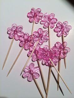 Fancy flower food pick. Flower toothpicks by CustomcCreationsbyS, $5.99