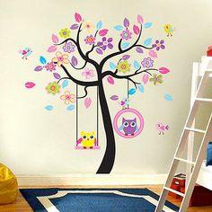 Level Eulen-Baum-Cartoon-Tier entfernbare Wand-Aufkleber f/ür Kind-Raum-Haus-Dekor-Abziehbild-DIY