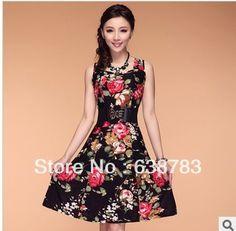 2013 Fashion Women Dress Bohemian Plus size Lady Dress for Woman Flower Print Floral Sleeveless Summer 21colors L,XL,XXL,3XL,4XL
