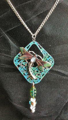 Blue Green Enamel Dragonfly Necklace by VintageMemoryJewelry, $25.00