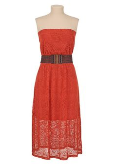 Belted Crochet Tube Dress available at #Maurices