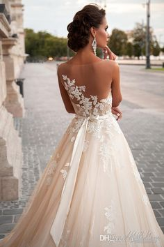 Illusion Lace A-Line Wedding Dresses 2016 Spring Applique Sheer Nets Neckline Bridal Gowns With Sash Court Train Wedding Gowns Online with $144.64/Piece on Yaostore's Store | DHgate.com