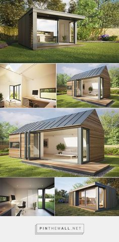 Work in complete tranquility with Pod Space home-garden offices - Bornrich - created on Tiny House Cabin, Tiny House Design, Modern House Design, Container Home Designs, Design Despace, Building A Container Home, Garden Office, Little Houses, Architecture Design
