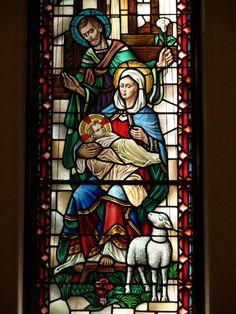 Description: Buffalo, New York (NY): Episcopal Church of the Good Shepherd: Nativity: Joseph, Mary and Jesus (Willet Studios)