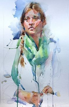 Green Scarf by Annette Smith Watercolor ~ x 11 Watercolor Portrait Painting, Watercolor Face, Watercolor Sketchbook, Watercolor Paintings Abstract, Watercolor Artists, Artist Painting, Portrait Art, Figure Painting, Watercolor Illustration