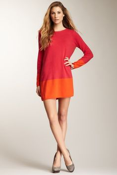Magaschoni color block long-sleeve cashmere dress