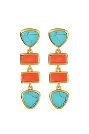 Earrings orange + aqua