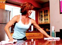 This woman decided to find workouts for household chores -- counter pushups while doing dishes, butt workouts for floors, arm weights doing laundry, etc.  An easy way to cross off housework AND working out in the same time!