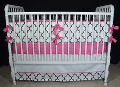 Custom Three Piece Crib Bedding in Black and white trellis fabric-Crib bumper, skirt and sheet on Etsy, $383.00