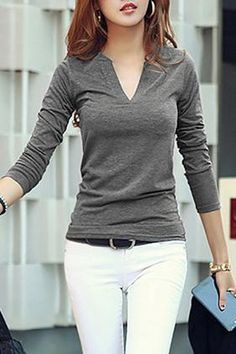 Solid Casual Cotton V-Neckline Long Sleeve Blouses Dauntless Clothes, Casual Dresses For Women, Casual Outfits, Polo Shirt Outfits, Cute Shirt Designs, Tops Online Shopping, Stylish Tops, Shirt Skirt, Blouses For Women