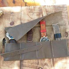 Dark Brown Leather Watch Organizer