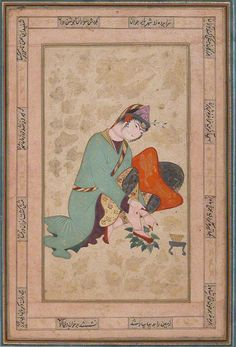 Woman applying henna, late 16th c., Persia. Intended for inclusion in an album of pictures and calligraphies, this painting is a rare depiction of a young woman applying henna to her feet. It incorporates elements associated with the Qazvin school of painting, such as the woman's peaked cap, delicate facial features, and slender body, as well as the gold vegetation and clouds floating across the surface
