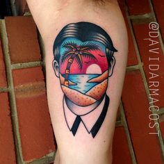 No Face Beach Portrait // by David Armacost (me) at Hybrid Image Tattoo // Cincinnati OH