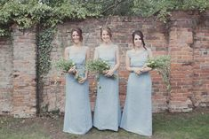 Image by Philippa James Photography. - A Rustic Wedding At Gaynes Park With A Jenny Packham 'Eden' Dress And Dusky Blue Bridesmaids Dresses With Foliage Bouquets By Philippa James Photography.