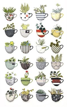 cacti & cups / textile art - cacti & cups / textile art – – art You are in the right place about cactus - Cactus Drawing, Plant Drawing, Painting & Drawing, Cactus Art, Succulents Drawing, Mini Cactus, Cactus Decor, Doodle Drawings, Doodle Art