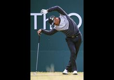 #YusakuMiyazato…HOYLAKE, ENGLAND - JULY 18: Yusaku Miyazato of Japan stretches on the first tee during the second round of The 143rd Open Championship at Ro...