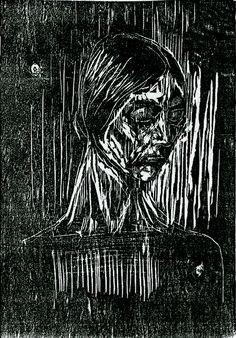 Dit is een werk van Edvard Munch, het is een voorbeeld van de hoogdrukvorm: houtsnede