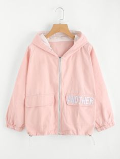 Shop Hooded Letter Embroidered Drawstring Jacket at ROMWE, discover more fashion styles online. Girls Fashion Clothes, Teen Fashion Outfits, Cool Outfits, Casual Outfits, Cute Jackets, Jackets For Women, Trendy Hoodies, Kawaii Clothes, Korean Outfits