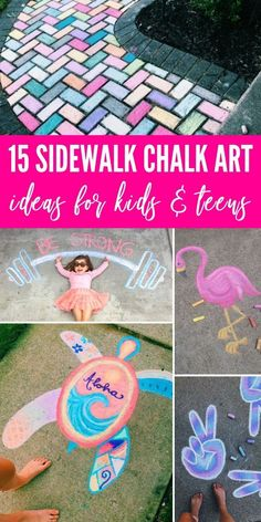 Check out these 15 Creative Chalk Ideas for Kids for you and your child to get creative outdoors. Check out these sidewalk chalk art ideas! Chalk Ideas, Art Ideas, Drawing For Kids, Art For Kids, Sidewalk Chalk Art, Sidewalk Ideas, Chalk Design, Colored Chalk, Outdoor Activities For Kids