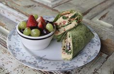 Hummus Harmony ~Hummus, Olives, Peppers, Cucumbers, Goat Cheese, Spinach, Carrots, Spinach Wrap~