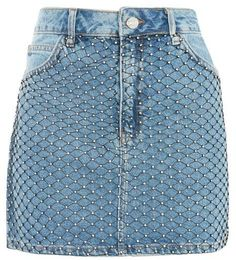Get an edge in this mid stone denim mini skirt with diamante fishnet panels. Topshop Skirts, Topshop Jeans, Denim Fashion, Skirt Fashion, Fashion Outfits, Short Skirts, Mini Skirts, Blue Skirts, Stage Outfits