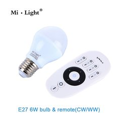7.20$  Buy now - http://ali07u.shopchina.info/go.php?t=32795063131 - Mi Light 2.4G AC86-260V E27 6W Wifi Dual white CCT LED Lamp Wireless Brightness adjusting color changing Dimmable LED Bulb 7.20$ #bestbuy