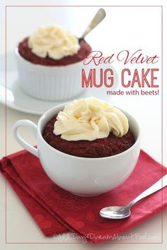 8 net carbs per serving! Quick and easy red velvet mug cake coloured with beets. Low carb and gluten-free. Mug Recipes, Gluten Free Recipes, Low Carb Recipes, Cake Recipes, Dessert Recipes, Recipies, Low Carb Sweets, Low Carb Desserts, Just Desserts