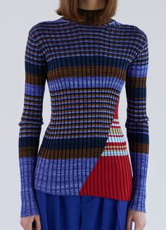 High Neck Striped Sweater with Long Sleeves in Silk Ribs - Céline