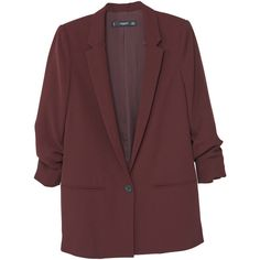 Ruched Sleeves Blazer (105 CAD) ❤ liked on Polyvore featuring outerwear, jackets, blazers, mango jackets, blazer jacket, long sleeve jacket, mango blazer and red blazer jacket