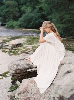 Carol Hannah Kyanite low back draped wedding gown Half up half down bridal hairstyle by Emily Artistry Bridal Portrait on river rocks  Autumn Wedding Inspiration at the Mill at Fine Creek by Richmond Virginia Wedding Planner East Made Event Company and Michael and Carina Photography